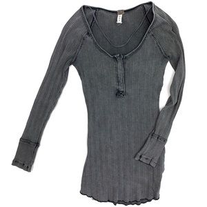 Free People Charcoal Black Long Sleeve Shirt